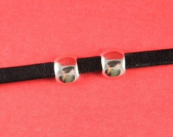 3a/2 MADE in EUROPE 4 zamak sliders for 5mm cord, flat cord slider, zamak round flat  slider (ABLZ154s) qty4