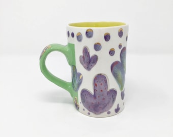 Green Handle- Purple Mug