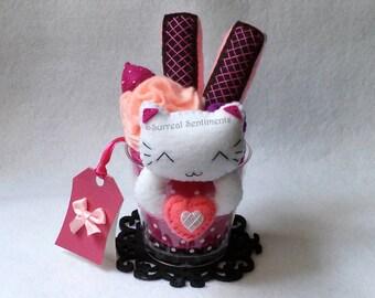 Pink Raspberry Cat Parfait, mini Gift Card & Box, Kawaii Cat Plush, Birthday Gift, Sister gift, BFF Gift, Girlfriend Gift Boyfriend Gift