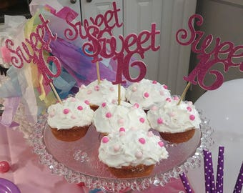 sweet 16 cupcake toppers swee 16 party decor 16th birthday cupcake toppers glitter