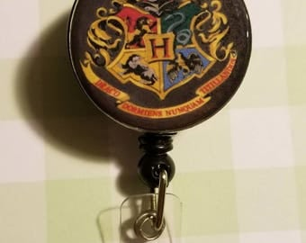 Harry Potter Retractable Badge Reel - Harry Potter Badge Holder - Hogwarts Badge Holder - Hogwarts Badge Reel - Lanyard - Retractable Badge