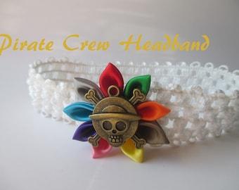 Pirate Baby Headband, White elastic headband with multi colored kanzashi flower