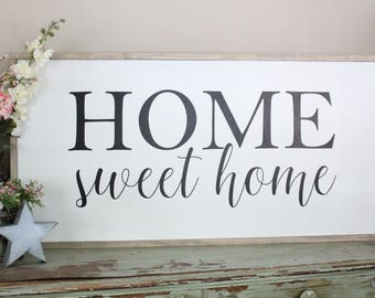 Home Sweet Home Wood Sign, Inspirational Wall Art, Farmhouse Decor, Welcome Home, Wood Sign Saying, Large Wood Sign, Living Room Sign