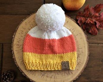 Baby Knit Hat/Candy Corn Beanie/Halloween Costume/Candy Corn Hat/Newborn Beanie/Striped Baby Hat/Baby Shower Gift/Photo prop/Halloween Hat