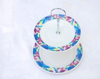 Beautiful Retro Two Tier Stand with Bold Blue and Purple Flowers; cake stand, cupcake stand, jewelry stand, tiered stand, cookie stand
