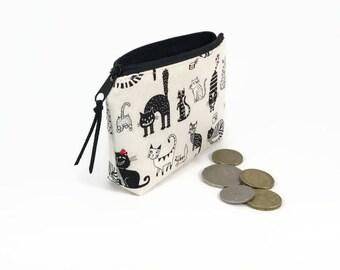 Cat Coin purse, Comic cats, Coin zipper purse, Cute coin purse, Coin pouch, Cute zipper pouch, Small zipper pouch, Small purse, Cats