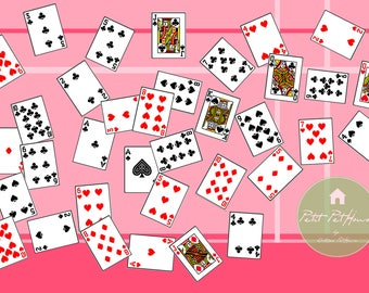 Printable 1:4 Scale Deck of Playing Cards (52 + 2 Jokers) for BJD, Doll Prop DIY