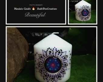 Decorated purple Mandala candle with charm