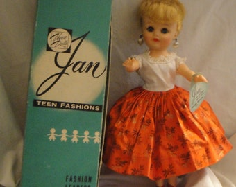 Vintage Vogue Jan Doll in Original Box Original Tagged Outfits with Wrist Tag