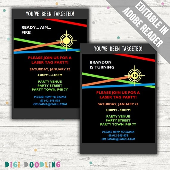 Laser Tag Party Invitations Editable PDF Printable Instant
