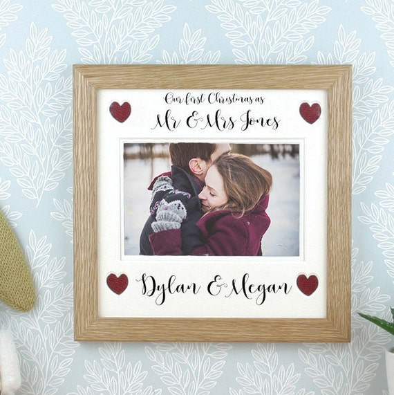 our first christmas as mr and mrs photo frame picture frame personalised mr and mr mrs and mrs also available from corneldawn on etsy studio - Mr And Mrs Picture Frame