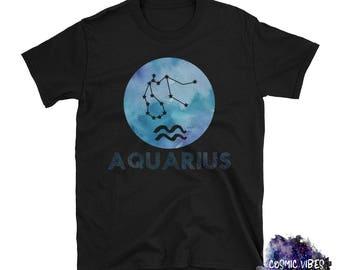 Aquarius Watercolor Zodiac Unisex T-Shirt - Astrology Tee Shirt - What's Your Sign - Star Sign Shirt - Gift Idea