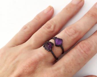 Raw Amethyst Ring, Raw Birthstone Ring, Raw Purple Stone Ring, Raw Amethyst, Amethyst Copper Ring, February Birthstone, Raw Stone Ring