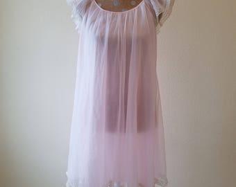 Vintage Van Raalte Nightgown, vintage nightgown, Van Raalte nightgown, vintage sleepwear, wedding nightgown, pink nightgown, sheer nightgown
