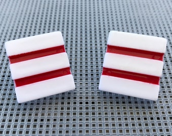 Vintage Geometric Earrings // Red and White Stripes // Square // New Wave // Punk // Minimalist // 80s Abstract Earrings