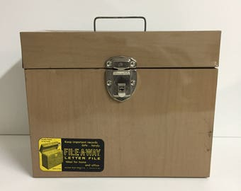 Vintage Faux Wood Metal File Box/ Vintage Metal Letter File/Vintage Metal Box/ Vintage Desktop Storage/ Vintage Office Decor