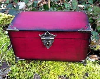 Burgundy and black wooden jewelry box casket Gothic, Victorian