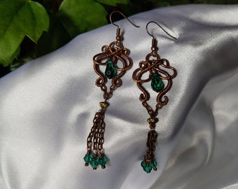 copper wire earrings, swarovsky crystal earrings, wire wrapped earrings, handmade jewelry.48