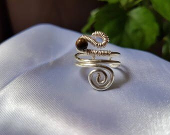 wire wrapped ring, silver plated copper wire ring, handmade jewelry