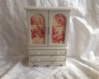 Jewelry Armoire Box Large Wooden Vintage Jewelry Box Hand Painted Off White Shabby Chic Distressed Toile Fabric