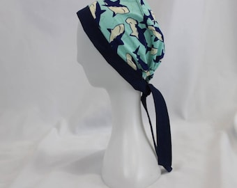 Navy and Light Blue Sharks Surgical Scrub Cap Chemo Dentist Hat