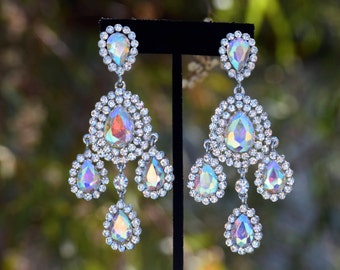 extra large clear rhinestone earrings prom/pageant chandelier