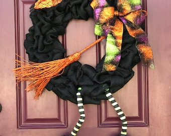 Burlap Witch Wreath, Witch Wreath, Halloween Wreath, Front Door Wreath, Witch, Black Burlap, Front Door Decor, Halloween Witch, Orange