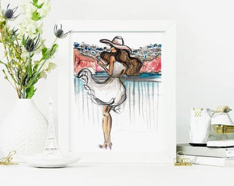 Santorini Painting Fashion Illustration // Greece Print // Travel wall art // Feminine Wall Art // Fashion Art Prints // 8x10 Print