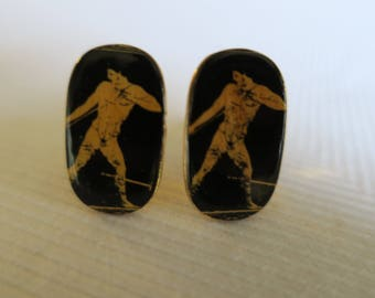 Vintage Enamel Male Athlete Figure on Gold Filled Cufflinks