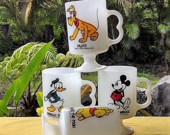 Disney Mugs Set of 4, Vintage Walt Disney Productions Milk White Mugs, Mickey Mouse, Donald Duck, Pluto, Winnie The Pooh, Collectible Mugs