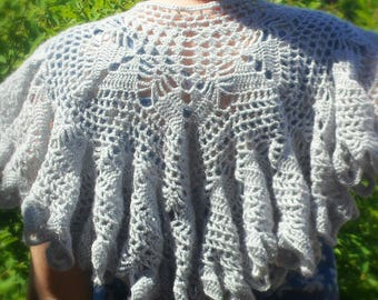 Wrap Shawl, Crochet Handmade Shawl, Knit wool Shawl, Gray Shawl, Lace Shawl, Cozy shawl, gift for her