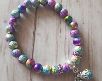 Stretch Bracelet multicolor beads and charms
