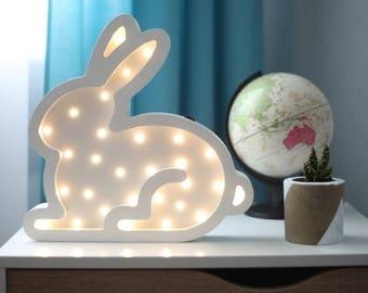 Easter bunny Nightlight rabbit Bunny nightlight Night light Baby nursery night light Marquee Nursery lamp Gift for baby easter decorations
