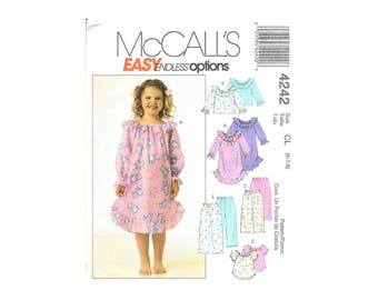 McCalls 4242 Child Girls Nightgown Pajamas Tops Bottoms Easy Pattern Size 6-8