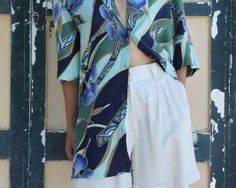 Vintage multi color blue green  floral 100% silk button down long shirt.over size