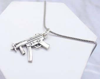 Machine Gun Necklace, Machine Gun Pendant, Military Gift, Rifle Necklace, Gun Jewelry, Pendant Gift for Boyfriend, Silver Army Necklace