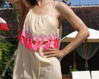 Tassels Bohemian Dress/Tassels short dress/Beach wear/Beach dress/Embroidery tassels dress * SAFI TASSELS DRESS