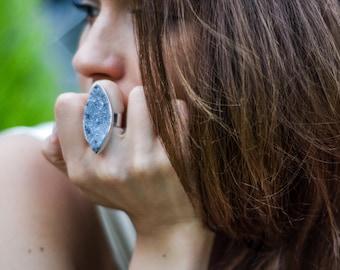 Black Druzy Ring, sterling silver ring, statement ring, druzy jewelry, black ring, gemstone ring, adjustable ring, Natural stone, handmade