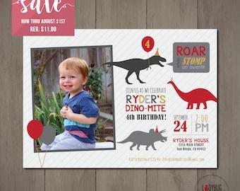 Dinosaur Invitation with Photo, Dinosaur Birthday Invitation, Dinosaur Photo Invitation, Dinosaur Party Hats Invitation, Dino-Mite Party