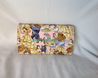 Beauty and the beast handmade wallet , stylish, big , disney