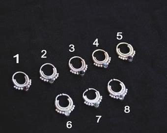 Silver Septums with Stones - Fake - Real - Gypsy - Boho - Tribal - Ethnic - Tribal Fusion- Amethyst-Labradorite-Moonstone - Onyx - Garnett