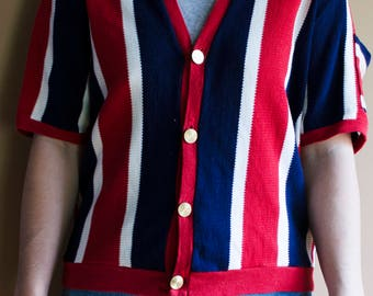 Vintage Striped 1960s Button Up Knit V Neck- Vintage Striped Shirt, Red White and Blue Shirt, Vintage Sweater, Vintage Knitted Shirt, 60s