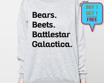 Bears Beets Battlestar Galactica sweatshirt the office sweater funny quotes unisex crewneck sweatshirts grey black S M L XL