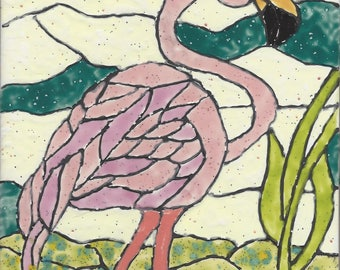 Flamingo #402 Hand Painted Kiln Fired Decorative Ceramic Wall Art Tile 8 x 6