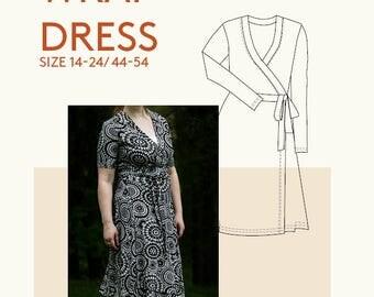 Plus size jersey wrap dress PDF sewing pattern|Ladies plus size wrap dress pattern for sewing|plus size women knit dress PDF sewing pattern