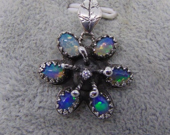 Opal Diamond Pendant flower pendant sterling silver necklace natural opal natural diamond solid silver flower