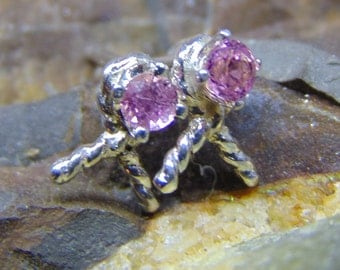 Pink ribbon tourmaline earrings Solid sterling silver .925 twisted ribbon earrings Birthstone earrings fast free shipping