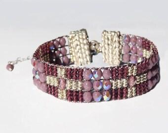 SeadBead Bracelet,Beadloom Bracelet,loomed Bracelet,Sterling Silver,Amethyst Bracelet,Free Shippping,Bead Bracelet,Boho,February Birthstone