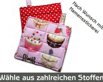 Muffins, cupcakes, pot holder pot holder pink red points scored, oven cloth with name embroidery, oven mitts