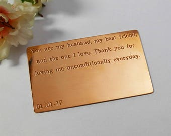 Wallet Insert Card Engraved Copper, Personalised Mens Gift, Gift for Husband, Seven Year Anniversary gift for him, Copper Anniversary Card